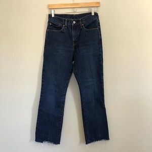 Levi's High Waist Straight Leg Jeans Raw Hem 27 B7